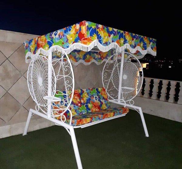 باغی تاب ویلایی تاب آهنی حیاطی 1 600x558 - تاب باغی مدل گلبرگ یا ماهواره کد2