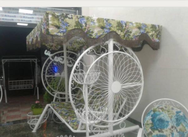 باغی تاب ویلایی تاب آهنی حیاطی 2 600x438 - تاب باغی مدل گلبرگ یا ماهواره کد2