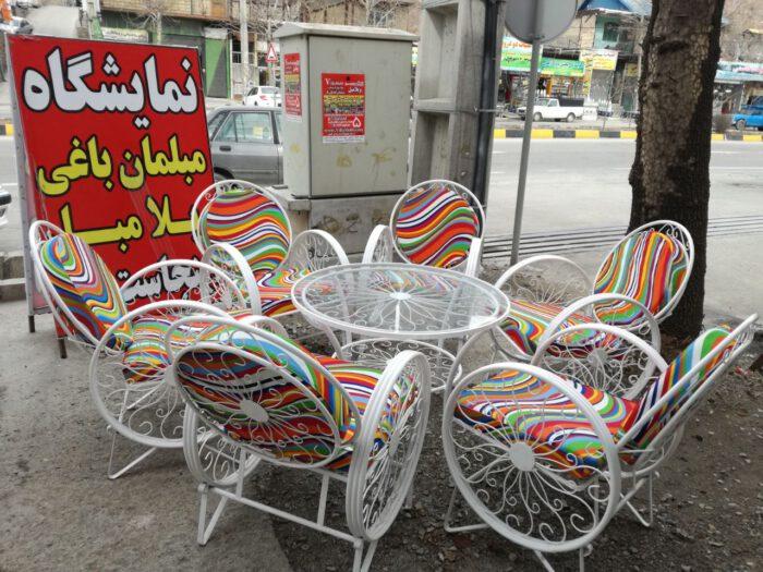 باغی صندلی ویلایی میز حیاطی 16 700x525 - مبلمان باغی ویلایی مدل کالسکه فرفورژه کد3
