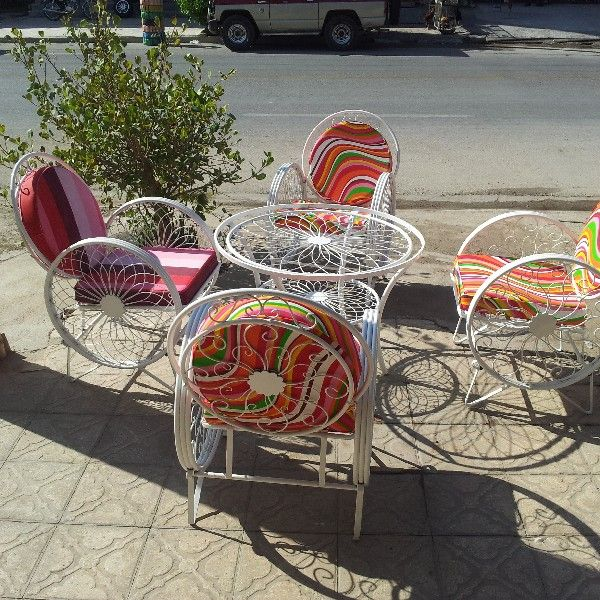 باغی صندلی ویلایی میز حیاطی 17 - مبلمان باغی ویلایی مدل کالسکه فرفورژه کد3