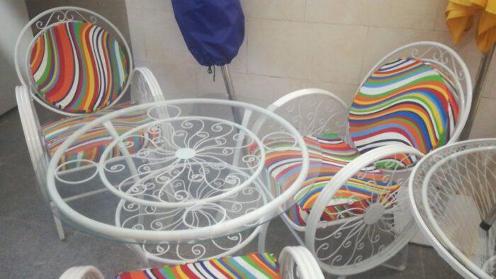 باغی صندلی ویلایی میز حیاطی 22 700x394 - مبلمان باغی ویلایی مدل کالسکه فرفورژه کد3