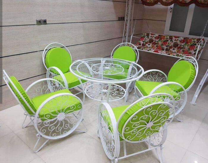 باغی صندلی ویلایی میز حیاطی 25 700x549 - مبلمان باغی ویلایی مدل کالسکه فرفورژه کد3