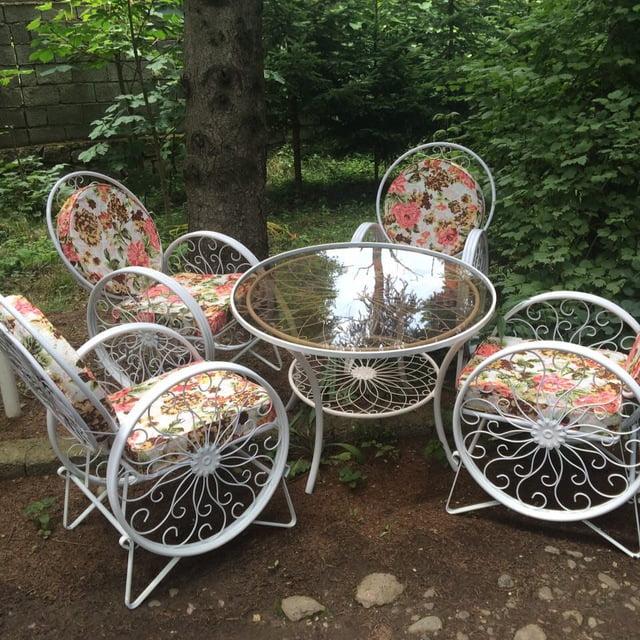 باغی صندلی ویلایی میز حیاطی 9 - مبلمان باغی ویلایی مدل کالسکه فرفورژه کد3
