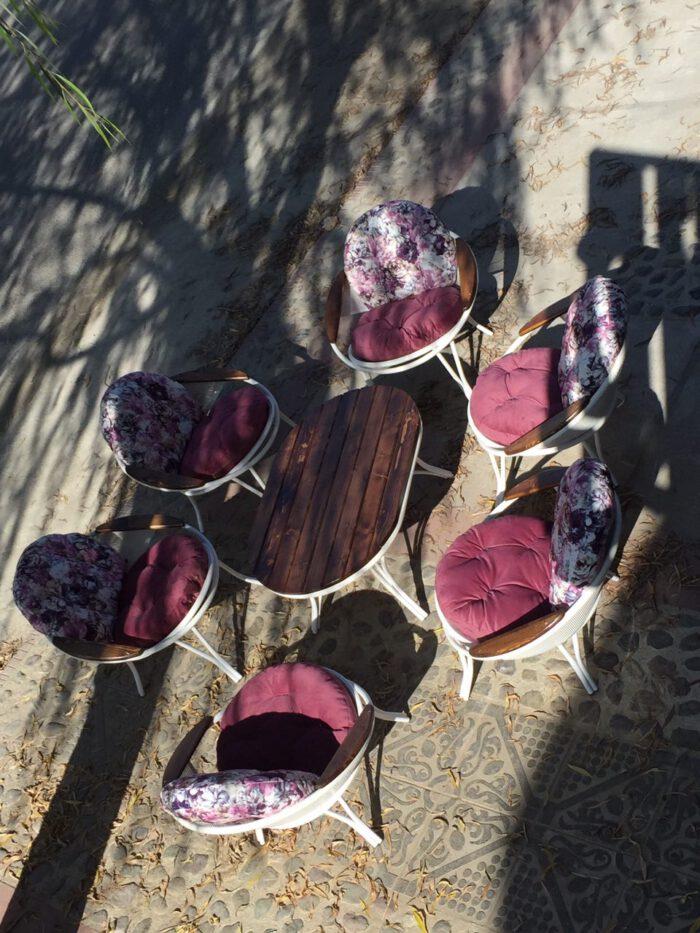 باغی مبلمان ویلایی مبلمان فضای باز حیاطی 8 700x933 - مبلمان باغی فلزی مدل ارغوان کد8