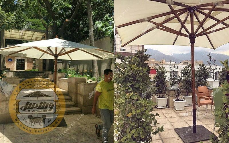 چتر باغی سایه بان چوبی قطر چهار متری پایه وسط