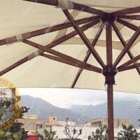 مشخصات چتر باغی سایه بان چوبی قطر چهار متری پایه وسط