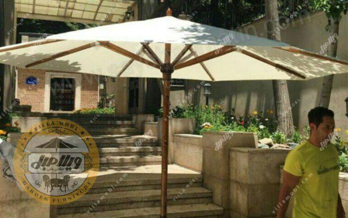 چتر باغی سایه بان چوبی قطر چهار متر پایه وسط