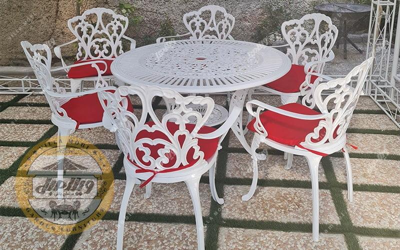 قیمت میز و صندلی باغی آلومینیومی مدالیوم دسته دار