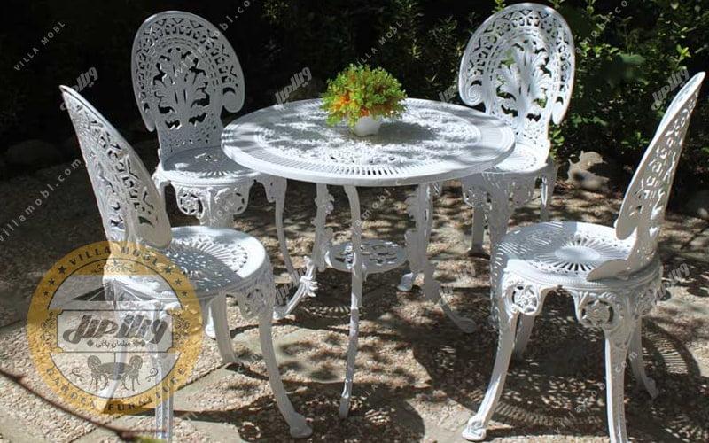 طرح میز و صندلی طاووسی یا چکاوک آلومینیومی