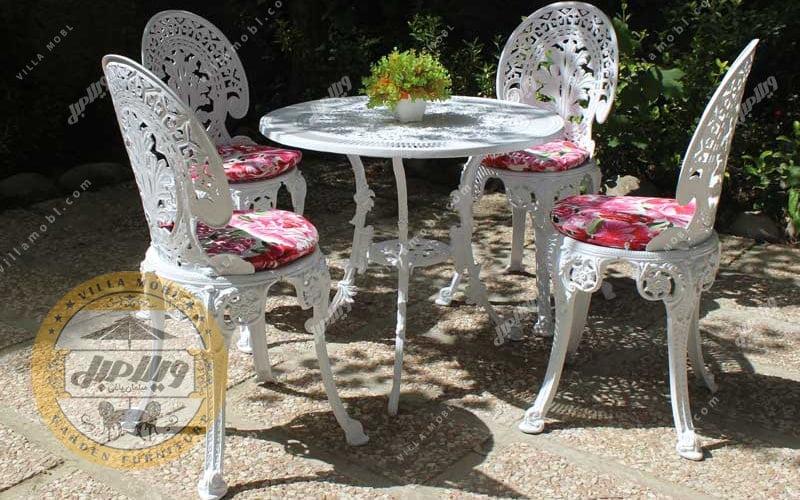 رنگبندی میز و صندلی طاووسی یا چکاوک آلومینیومی