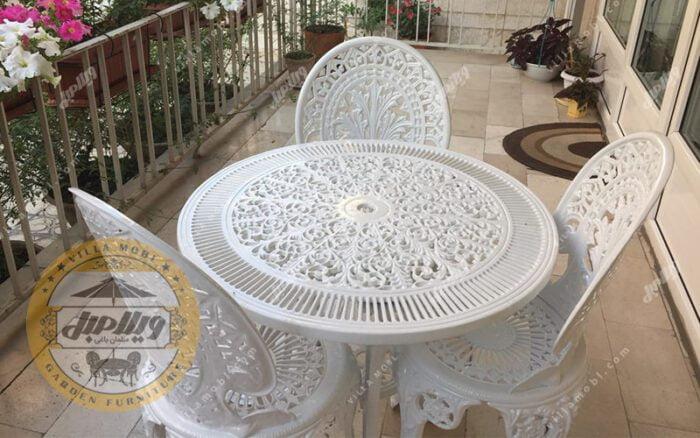 میز و صندلی طاووسی آلومینیومی