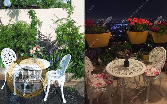 میز و صندلی طاووسی یا آلومینیومی