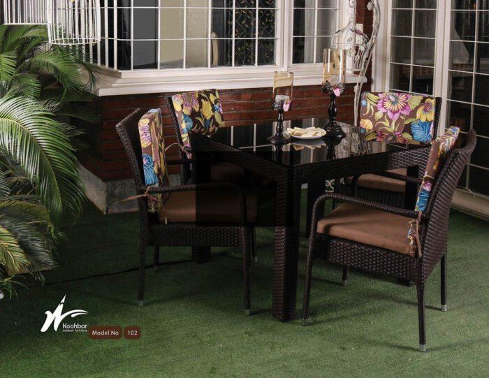 میز و صندلی باغی حصیر بافت کد102