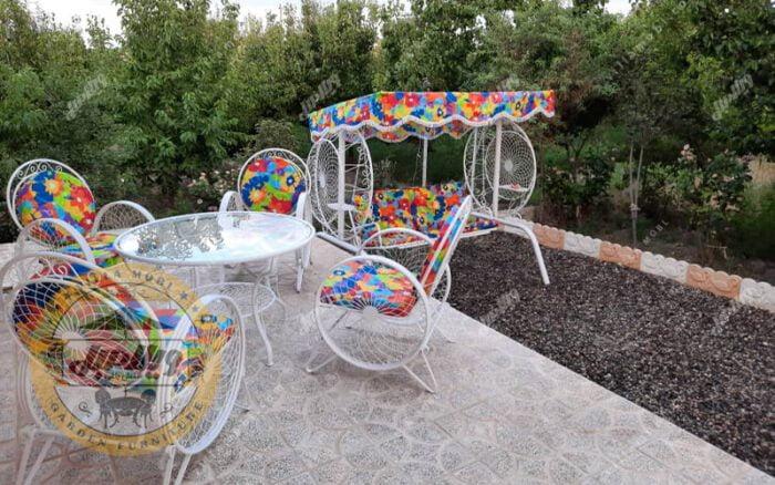 مشخصات مبل باغی فلزی مدل گلبرگ