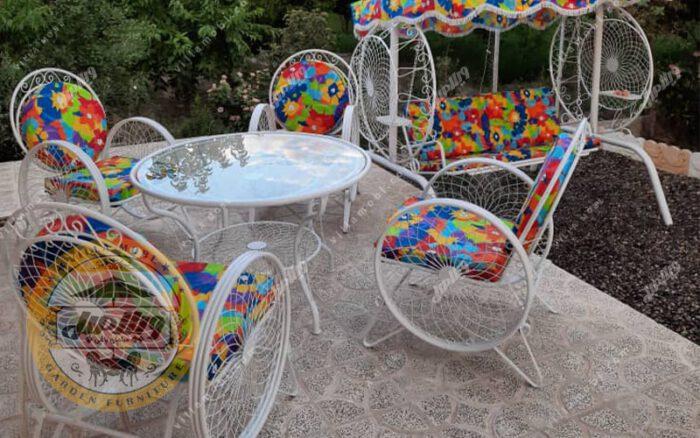 مبل باغی فلزی مدل گلبرگ ست تاب باغی