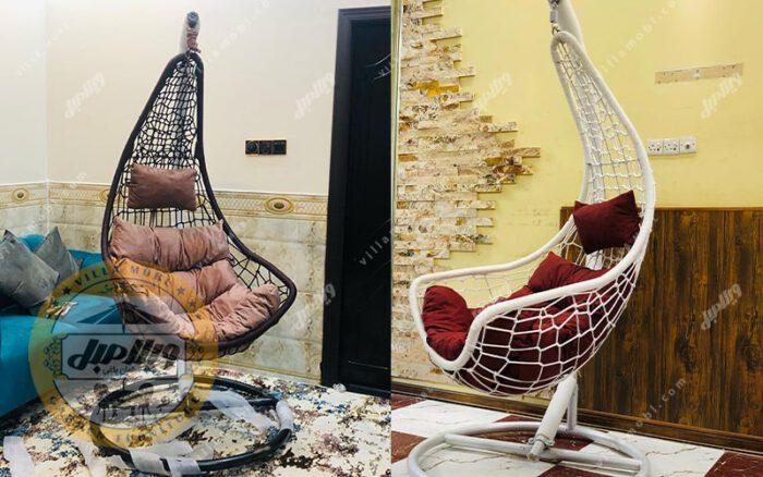 صندلی آویزی مدلs بافت پنجرهای