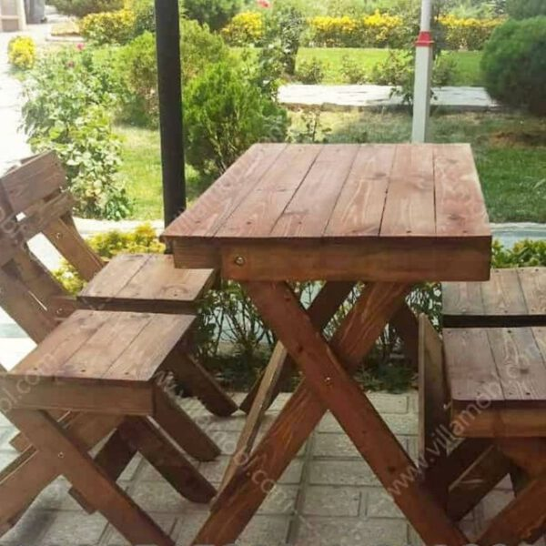 چوبی تاشو روسی 4نفره 600x600 - میزوصندلی چوبی تاشو 4نفره با چوب6سانتی