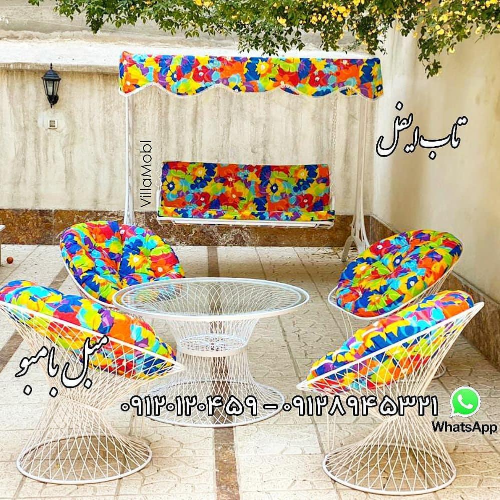 باغی بامبو با تشک - تاب ریلکسی بافت تار عنکبوتی یا پنجره ای