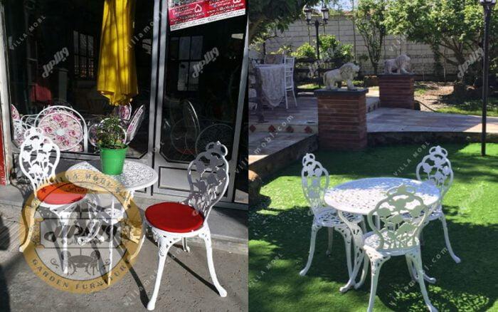 میزوصندلی باغی و آشپزخانه گل رز آلومینیومی