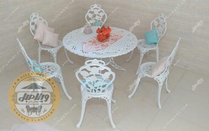 میز و صندلی باغی و آشپزخانه گل رز آلومینیومی