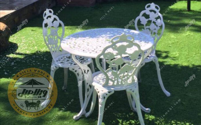 میز صندلی باغی و آشپزخانه گل رز آلومینیومی