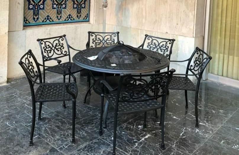 آتشدان - مبلمان باغی با میز آتشدان آلومینیومی مدل هخامنش