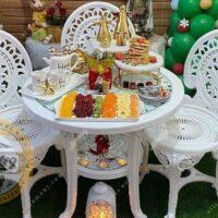 صندلی و میز پلاستیکی پلیمری طاووسی 3 نفره