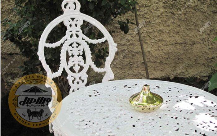 میز و صندلی ویلایی آلومینیومی گل مینا سفید