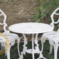 میز و صندلی ویلایی آلومینیومی گل مینا دو نفره