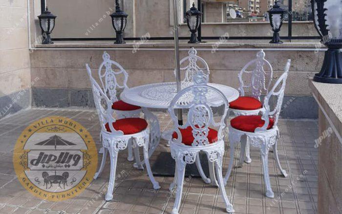 میز و صندلی ویلایی گل مینا آلومینیومی ضدزنگ