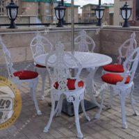 میز و صندلی ویلایی گل مینا آلومینیومی