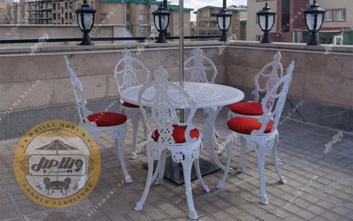 میز و صندلی ویلایی آلومینیومی گل مینا