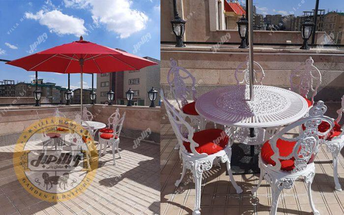 میز و صندلی ویلایی گل مینا