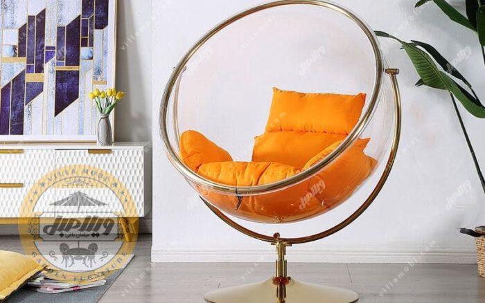 صندلی ریلکسی شیشه ای راک مدل گلزار نارنجی