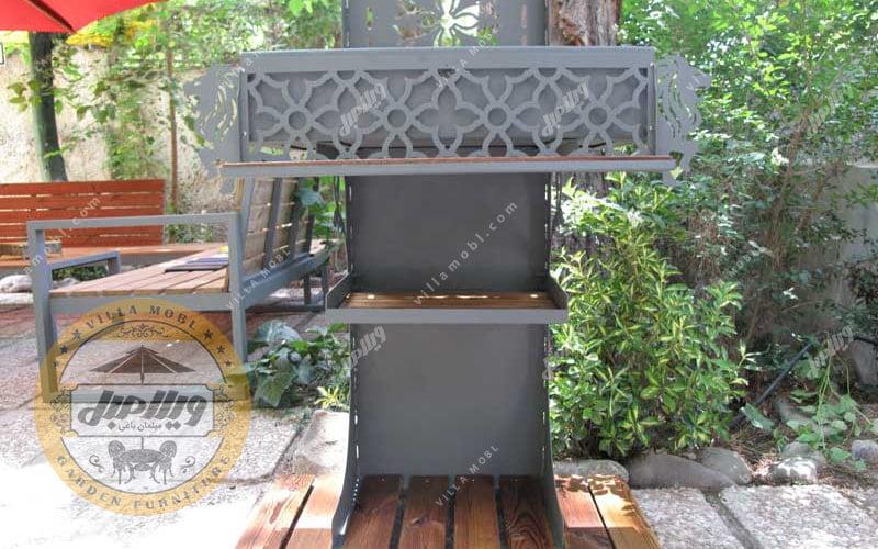 باربیکیو زغالی فلز و چوب مسقف