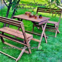 نیمکت و میز چوبی تاشو چهارنفره