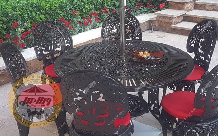 قیمت میز باغی آلومینیومی مدل کبریتی قطر 105 سانتی