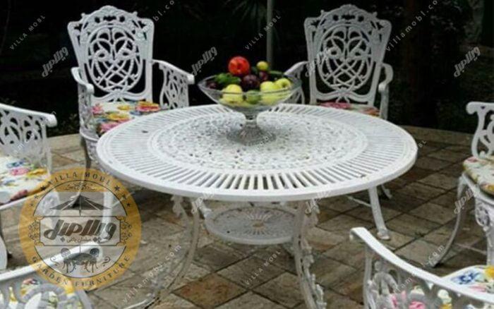 میز باغی آلومینیومی مدل کبریتی قطر 105 سانتی متر