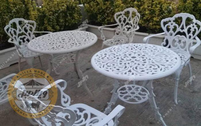 میز باغی آلومینیوم قطر 75 سانتی مدل مدالیوم