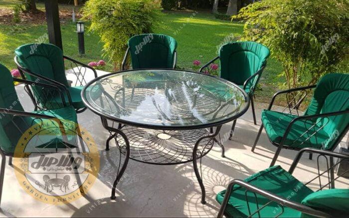 میز باغی فلزی قطر ۱۴۰ سانتی متر