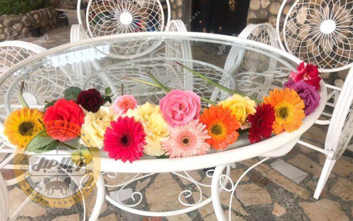 میز باغی فلزی قطر ۱۰۰ سانت