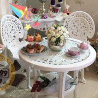 قیمت صندلی و میز پلاستیکی پلیمری طاووسی 2 نفره