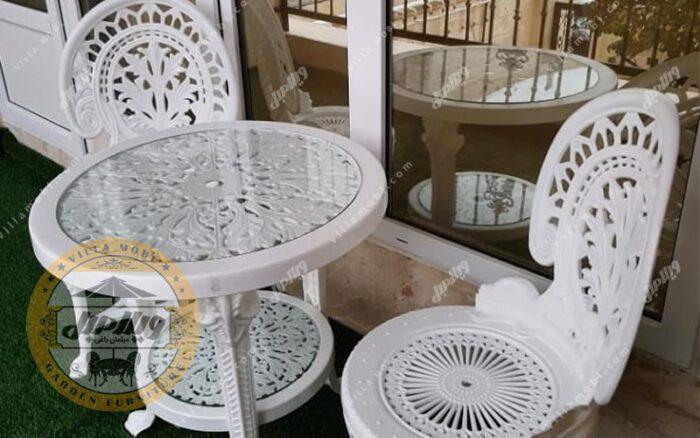 قیمت صندلی و میز پلاستیکی طاووسی 2نفره