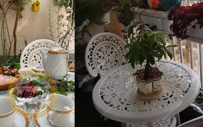 قیمت صندلی و میز پلیمری طاووسی 2نفره
