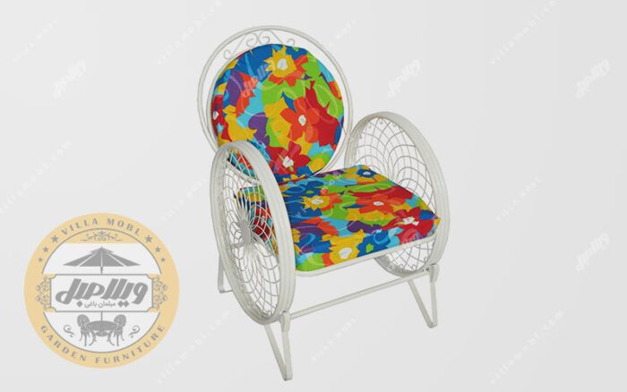 صندلی باغی فلزی مدل گلبرگ سفید
