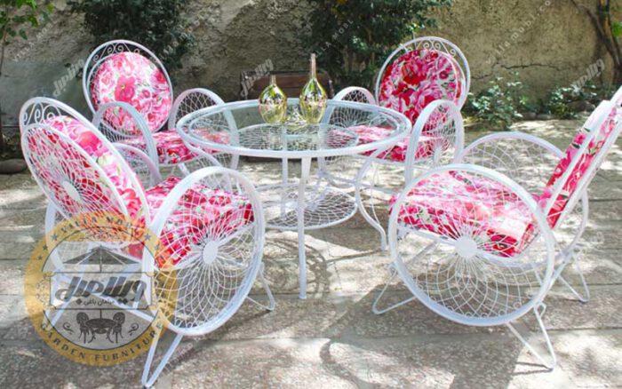 صندلی فضای باز فلزی مدل گلبرگ