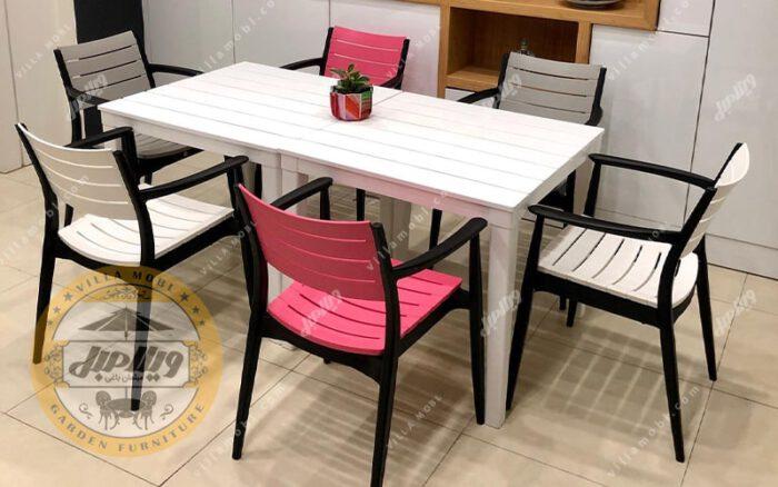 میز و صندلی پلیمری مدل باران