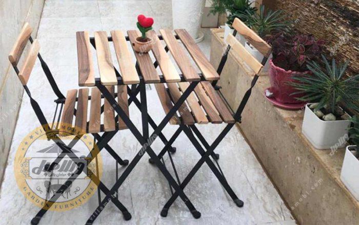قیمت میز و صندلی چوبی فلزی تاشو پیچک