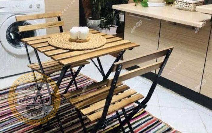 میز و صندلی چوبی فلزی پیچک