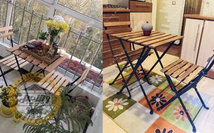 میز و صندلی چوبی تاشو پیچک